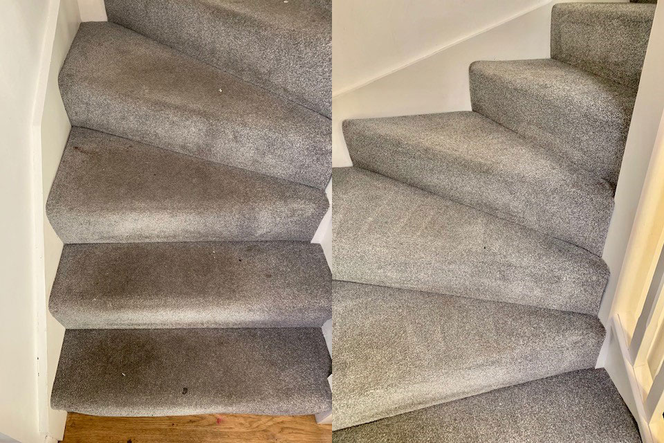 Stair carpet being cleaned
